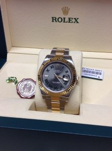 Rolex Datejust II 116333 Bi/Colour 41mm Slate Grey Dial With Green Roman Numeral Brand New Unworn