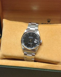 Rolex Datejust 36mm 16200 Black Baton Dial Domed Bezel From 2002 With Rolex Service History