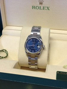 Rolex Lady Datejust 31mm Mid/Size 178240 Blue Roman Numeral Dial From 2011