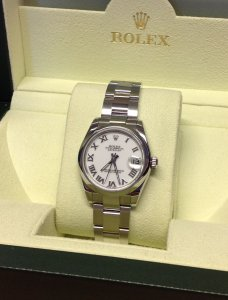 Rolex Lady Datejust 31mm Mid/Size White Roman Numeral Dial 178240 From 2010
