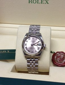 Rolex Datejust Lady 31mm 178274 Mid/Size Pink Roman Numeral Dial Brand New Unworn