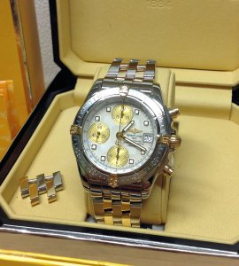 Breitling Chrono Cockpit 39mm Bi/Colour B13357 White Mother Of Pearl Dial