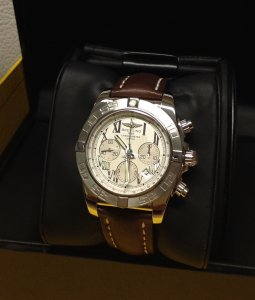 Breitling Chronomat 44 Silver Roman Numeral Dial AB0110 Brown Leather Deployment 2011