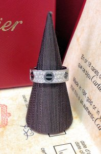 Cartier Love Ring B4207600 Diamond Pave Ceramic