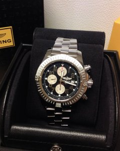 Breitling Super Avenger Black Arabic Numeral Dial A13370