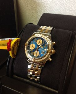 Breitling Chrono Cockpit Rose Gold Diamond Bezel Blue Roman Numeral C13358 New Old Stock