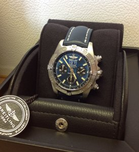 "Breitling Blackbird ""Black-Eye Blue"" Dial Satin Finish On Blue Leather Strap A44359"