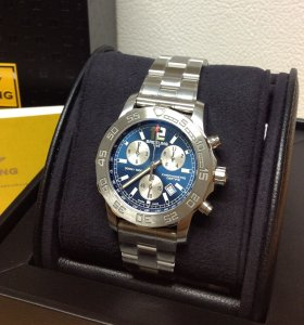 Breitling Colt Chronograph Blue Dial A73387 New Old Stock