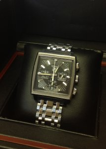 Tag Heuer Monaco Black Dial CW2111-0 Just Serviced With Bracelet & Strap