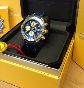 Breitling Chronomat Evolution Bi/Colour Blue Dial B13356 Blue Leather Deployment