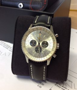 Breitling Navitimer 50th Anniversary Silver Dial Just Serviced By Breitling A41322