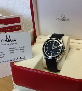 Omega Planet Ocean 45mm Black Bezel White Numerals 2200.50.91 Recently Serviced By Omega