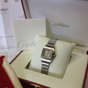 Cartier Santos Galbee Ladies 23mm Quartz W20056D6 Just Serviced