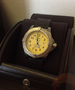 Breitling Avenger Seawolf Yellow Dial Titanium E17370 Just Serviced By Breitling UK