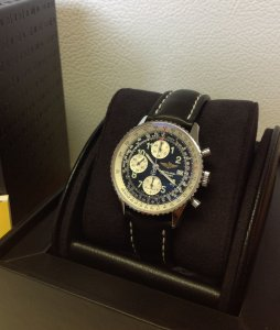 Breitling Old Navitimer Black Arabic Numeral Dial A13322 Just Serviced By Breitling