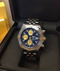 Breitling Chronomat Evolution Bi/Colour Blue Baton Dial B13356 Just Serviced