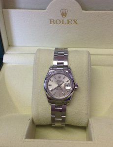Rolex Datejust 26mm Silver Baton Dial Domed Bezel 179160