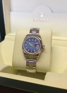 Rolex Datejust 26mm Blue Baton Dial Domed Bezel 179160 Just Serviced By Rolex