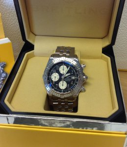 Breitling Chronomat Evolution Black Arabic Numeral Dial A13356 Just Serviced