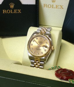 Rolex Datejust 36mm Bi/Colour Champagne Diamond Dot Dial 116233 Recently Serviced By Rolex UK