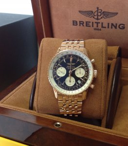 Breitling Navitimer 18ct Rose Gold Black Dial R23322 Just Serviced By Breitling