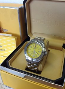 Breitling Superocean Professional Yellow Dial A17045 Just Serviced