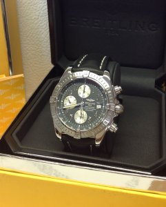 Breitling Chronomat Evolution A13356 Grey Arabic Numeral Dial Just Serviced By Breitling