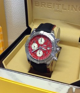 Breitling Chronomat Evolution Red Arabic Numeral Dial A13356 Just Serviced By Breitling UK