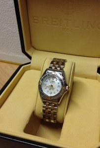Breitling Callistino Bi/Colour Ladies 29mm Diamond Dot Mother Of Pearl Dial B72345