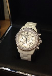 Chanel J12 Chronograph Twin Row Diamond Bezel White Ceramic H1008