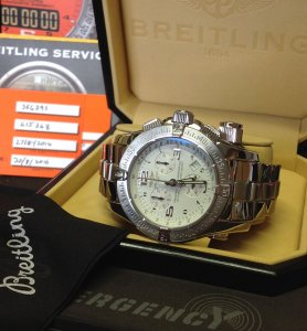 Breitling Emergency Mission White Dial A73321 Just Serviced By Breitling
