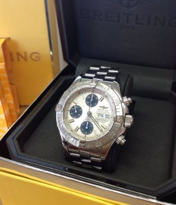 Breitling Superocean Chronograph Silver Dial A13340 Just Serviced