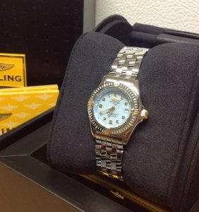 Breitling Callistino Bi/Colour Baby Blue Mother Of Pearl Dial Ladies B72345 Just Serviced