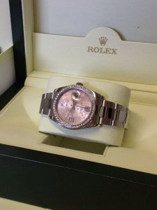 Rolex Datejust 36mm Diamond Bezel Pink Floral Dial 116244