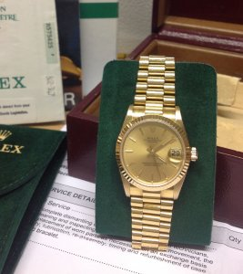 Rolex Datejust 31mm mid/size 18ct Yellow Gold Champagne Baton Dial 68278 Just Serviced By Rolex UK
