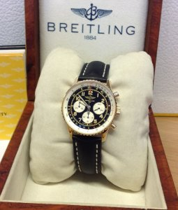 Breitling Navitimer 92 K30022 18ct Yellow Gold Black Dial Just Serviced By Breitling