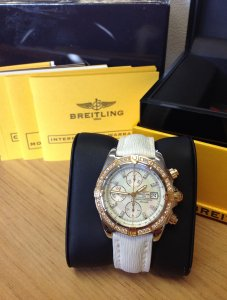 Breitling Chronomat Evolution 18ct Rose Gold Diamond Bezel C13356 M.O.P Diamond Dial