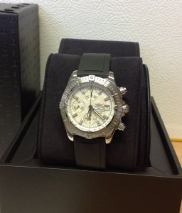 Breitling Chronomat Evolution Mother Of Pearl Diamond Dot Dial A13356 Just Serviced By Breitling