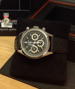 Tag Heuer Carrera 1964 Re-edition CV2113-0 Black Dial New Strap Just Fitted