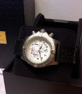 Breitling Avenger M1 Chronograph White Dial E73360 Just Serviced By Breitling UK