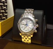 Breitling Chronomat 44 AB0110 Grey Mother Of Pearl Diamond Dot Dial