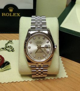 Rolex Datejust 36mm 116234 Silver Diamond Dot Dial With Rolex Service History