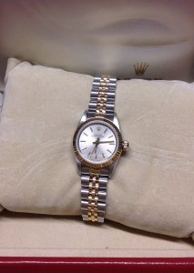 Rolex Ladies Oyster Perpetual 24mm Bi/Colour 67193 Silver Baton Dial Just Serviced