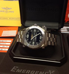 Breitling Emergency E76321 Black Dial Full Set 2009 Just Serviced