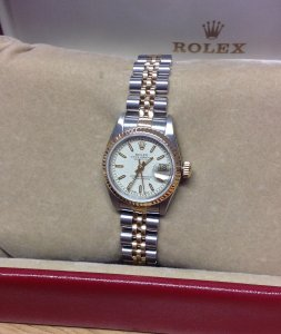 Rolex Datejust Ladies 26mm Bi/Colour 69173 White Jubilee Baton Dial Just Serviced By Rolex UK