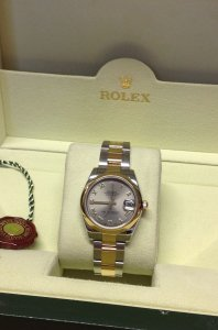 Rolex Datejust Ladies 31mm Mid/Size 178243 Steel & Yellow Gold Rhodium Roman Numeral Dial