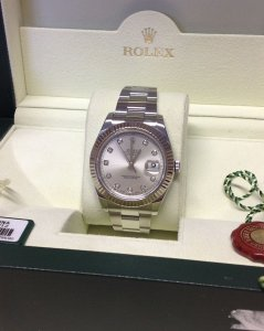 Rolex Datejust II Silver Diamond Dot Dial 116334 From 2010