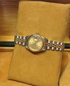 Rolex Datejust Ladies 26mm 69173 Bi/Colour Champagne Baton Dial From 1989