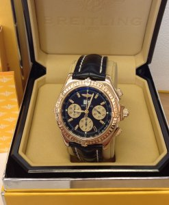 Breitling Crosswind Special K44355 18ct Yellow Gold Black Dial just Serviced By Breitling UK