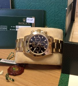 Rolex Daytona 18ct Yellow Gold 116528 Black Baton Dial From 2011